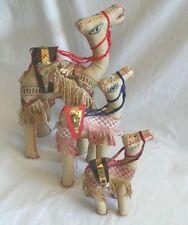 "Egyptian Leather Large Toy Camel Animal Set:Great Gift 6"" - 12"""