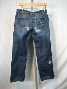 """good selling save up to 80% fashion style Details about Mens ARMANI JEANS Indigo 005 Series Size 28 x 27"""" Inseam  Distressed (AP)"""