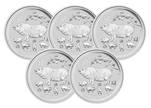 Series II Lot of 5-2019 $1 1oz Silver Australian Year of the Pig .9999 BU