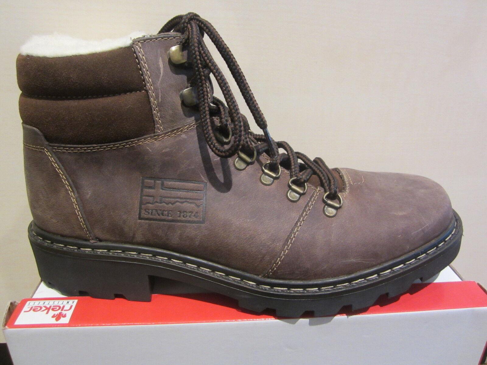 Rieker botas de Hombre Invierno Cordón, Marrón Oscuro Piel Nuevo