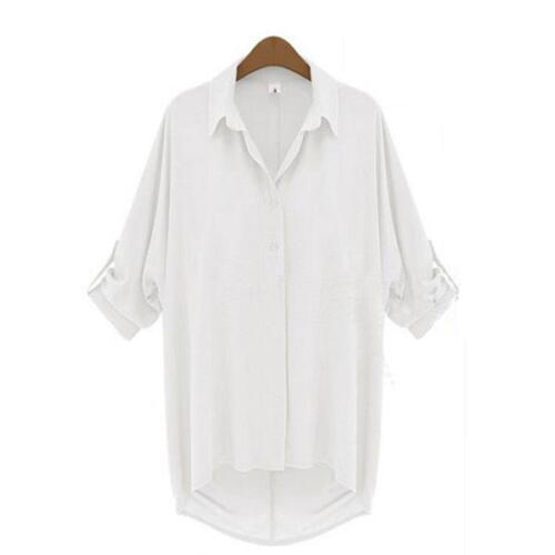 Women Long Sleeve Lapel Collar Casual Shirt Top Chiffon Top Blouse