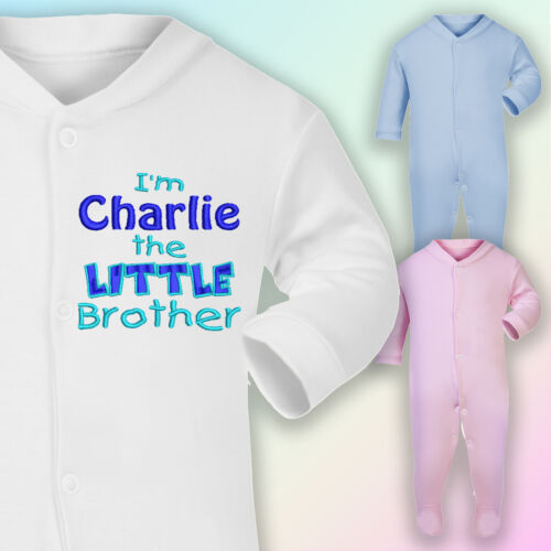 I/'m The Little Brother Embroidered Baby Sleepsuit Gift Personalised