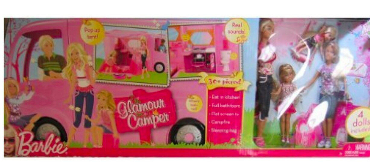 NEW Barbie Camper RV Pink Vacation Glamour Van 2008 With Dollsl Pop out Tent