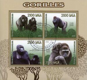 MADAGASCAR-2015-CTO-Gorilla-Gorilla-4-V-M-S-Scimmie-Animali-Selvatici-FRANCOBOLLI
