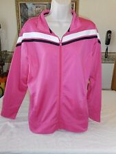 Women's Made For Life Full Zip Jacket Pink Black White Sz LARGE New