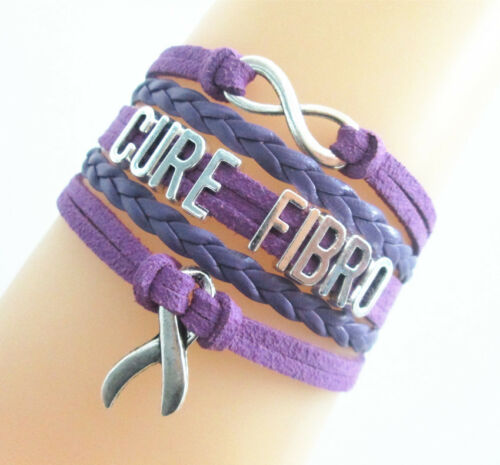 Infinity Cure fibro cancer Ribbon Charms en daim cuir tressé bracelet violet