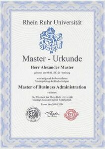 Masterurkunde Und Zeugnis Uni Rhein Ruhr Urkunde Diplom