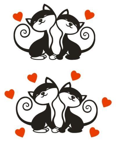 5  tailles de 10cm à 30cm * * 1 Sticker Couple de Chats