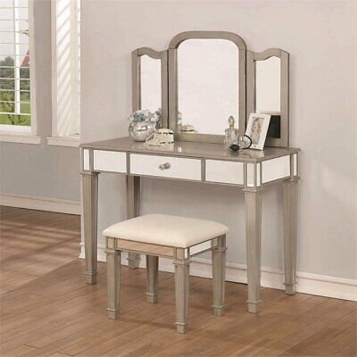 3 Piece Vanity Set.Coaster 3 Piece Vanity Set In Gray And Cream 21032435769 Ebay