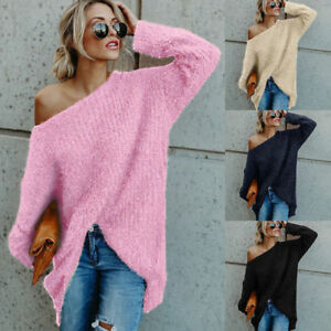 Women-Off-Shoulder-Pullover-Sweater-Blouse-Long-Sleeve-Jumper-Loose-Tunic-Tops