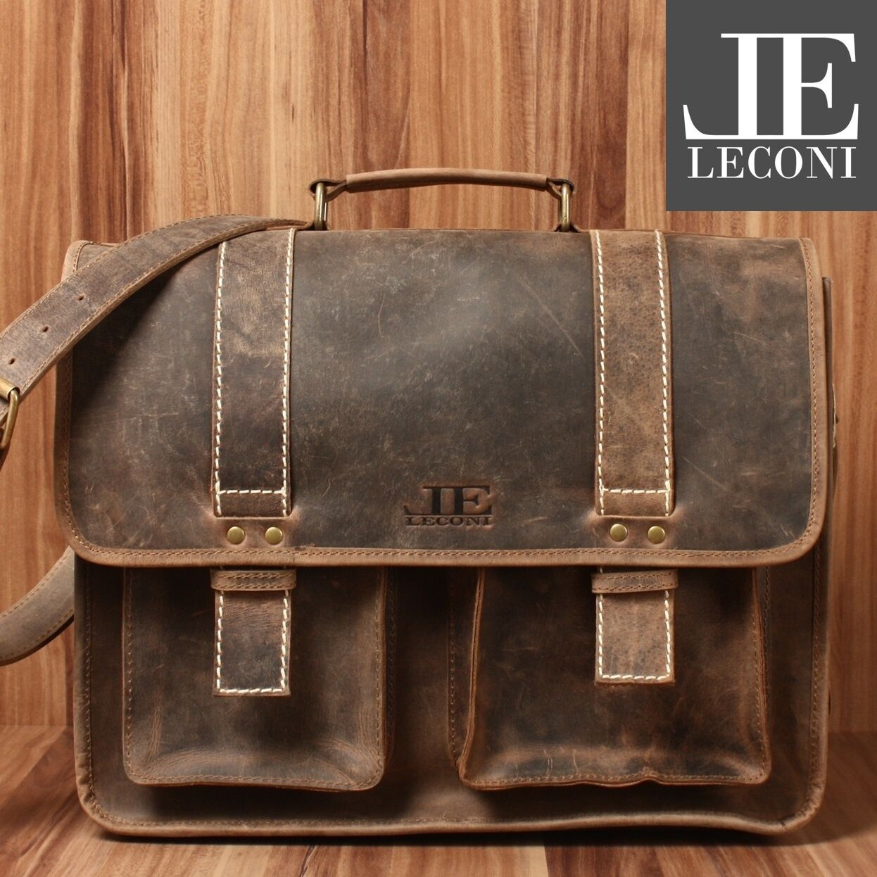 LECONI Aktentasche XL Collegetasche Messenger Bag Büffelleder braun LE3030-N | Qualität und Quantität garantiert  | Haltbarer Service  | Online Outlet Store