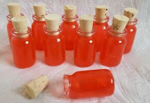 Qty-10-7ml-Small-Empty-Red-Glass-Bottles-Vials-with-Cork-Stoppers-New