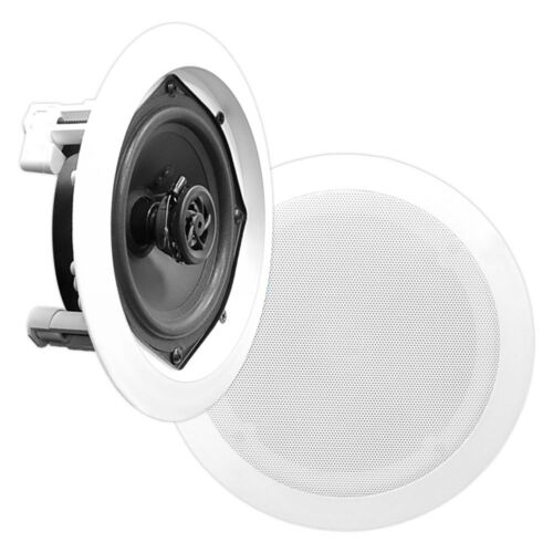 NEW Pyle PDIC51RD 5.25 Inch Round White In Ceiling Wall Flush Speakers Pair 2