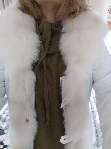 Pelle Bianca e giacca di pelliccia di volpe donna taglia 12 o Eu42