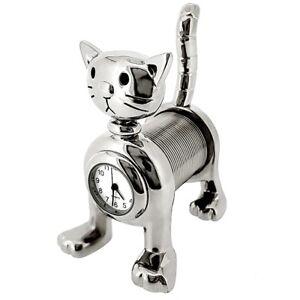 SPRING-CAT-MINI-CLOCK-BIZ-CARD-MEMO-HOLDER-COLLECTIBLE-DESKTOP-GIFT