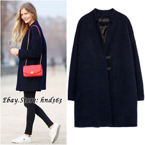 Authentic!!! Size S - ZARA NAVY BLUE WOOL COAT ELEGANT OVER SIZE ...