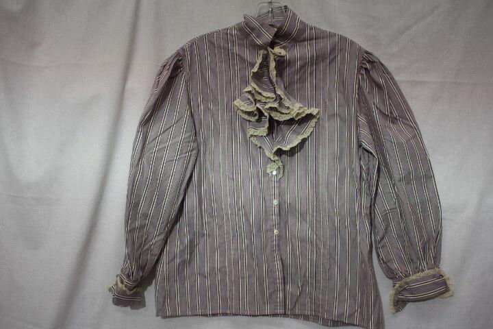 RALPH LAUREN Purple Cotton Striped Button Down Blouse, Lace Decor Womens 12-B106