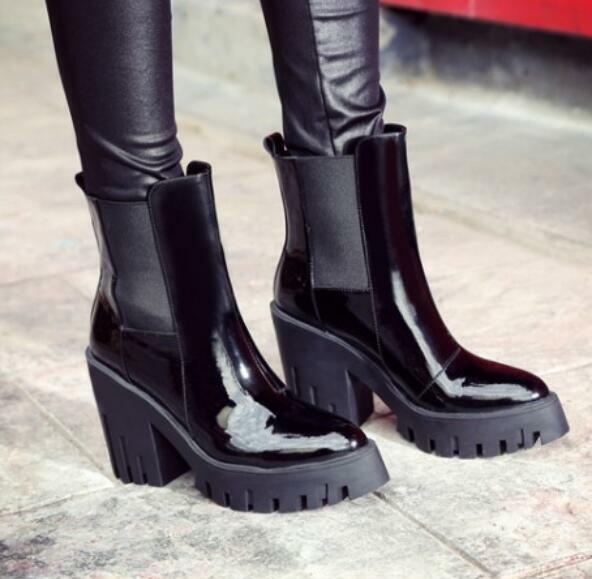 Wouomo Ankle stivali Pointed Toe Pumps Block Heels Heels Heels Platform Patent Leather scarpe badd32