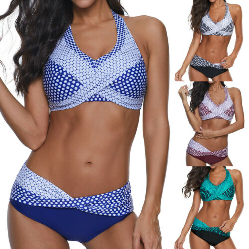 Plus Size Women Polka Dots Bathing Suit Push-up Beach Swimsuit Bikini Swimwear