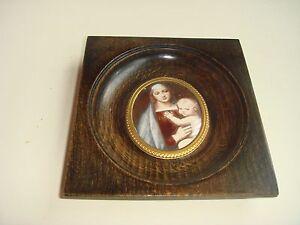 ancien-cadre-bois-bronze-verre-bombe-image-miniature-de-la-vierge-a-l-039-enfant