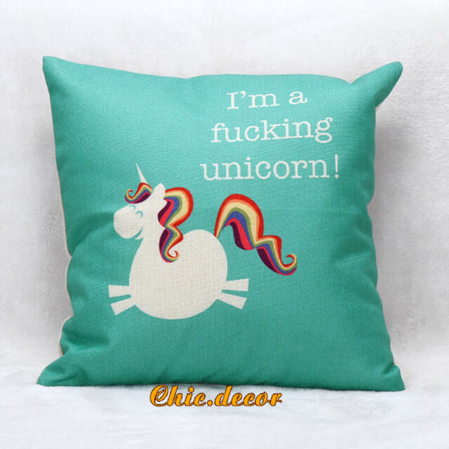 Unicorn Horse Print Cotton Linen Throw Pillow Case Cushion Cover Home Sofa Decor