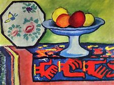 August MACKE ancora vita con Apple Peel una ventola Giapponese Arte Pittura Stampa 316oma
