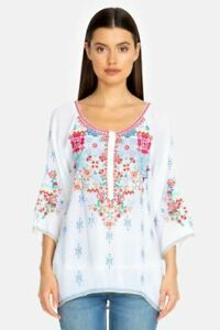Johnny-Was-Muna-Embroidered-3-4-Sleeves-Blouse-Boho-Chic-C10019-NEW