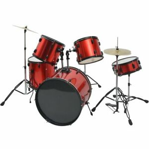 vidaXL-Complete-Drum-Kit-Stool-Stick-Pedal-Cymbal-Powder-coated-Steel-Red-Adult
