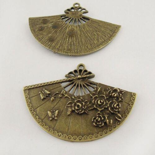 8pcs Antique Bronze Alloy Floral Folding Fan Charms Pendant Crafts Jewelry 37656