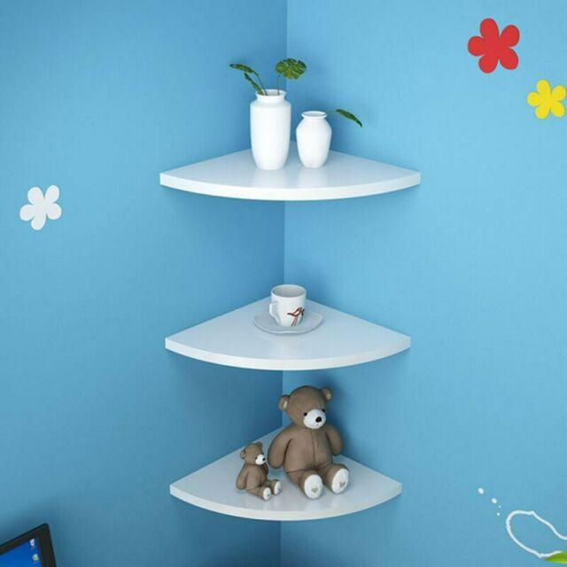 3pcs Durable Floating Corner Wall Shelf Display Trinket Photo Shelf Home Decor
