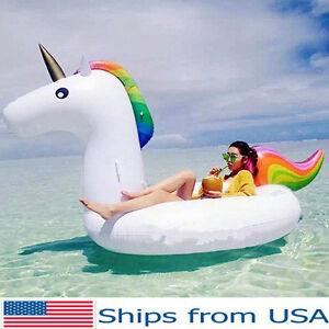 Inflatable Giant Unicorn Pool Float Swimming Water Rainbow