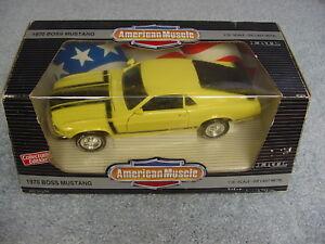 ERTL 1/18 AMERICAN MUSCLE 1970 FORD BOSS MUSTANG GRABBER YELLOW CE CAR