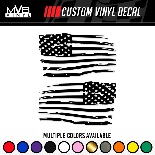 Distressed American Flag Vinyl Decal Set Multiple Sizes and Colors