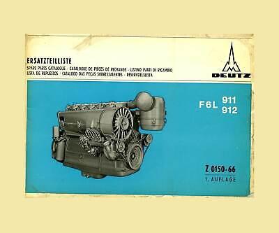 Deutz dieselmotor F6l 911 F6l 912 W ersatzteillliste Original 1970