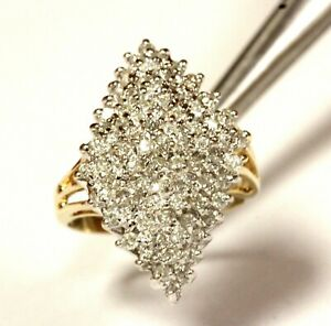 14k-yellow-gold-75ct-I1-I-diamond-cluster-womens-band-ring-6-1g-estate-vintage