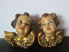 Antik 2  Engel Paar bemalt /  2 Putto um 1900(#159#)