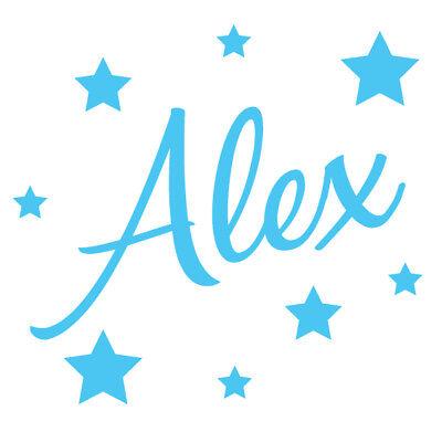 Personalised Name Stars Wall Art, Boys Girls Kids Bedroom ...