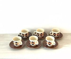Colditz-Porcelain-Coffee-Cups-amp-Saucers-Set-of-6-Vintage-Floral-Design