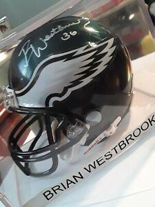 Brian WestbrooK #36 Signed NFL Mini Philadelphia Eagles Helmet Riddell VTG