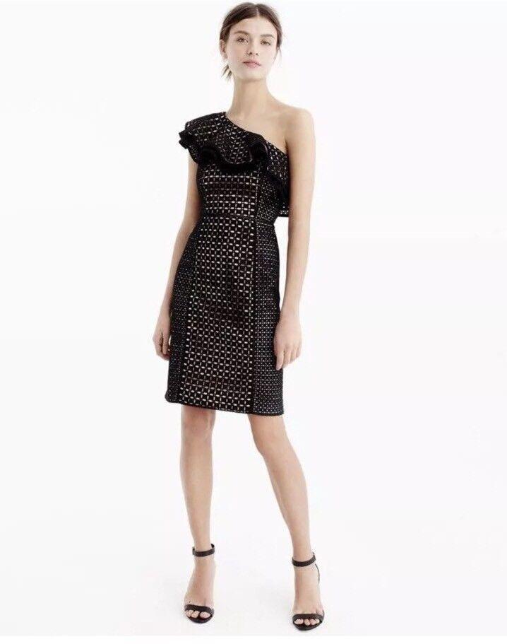 NEW JCREW One-Shoulder Ruffle Dress In Eyelet Größe 4 schwarz G6629