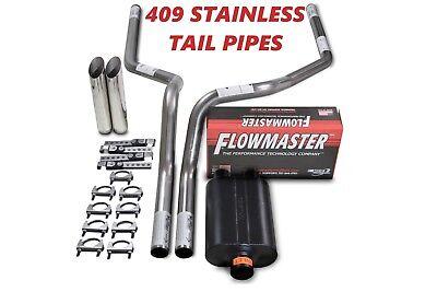 "88-95 Chevy GMC CK1500 CK2500 2.5/"" Dual Exhaust Flowmaster Super 10 W Slash Tips"
