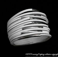 HOT New WHITE BANDEAU FAUX LEATHER 13 LAYERS WITH SILVER BARS BRACELET 22CM