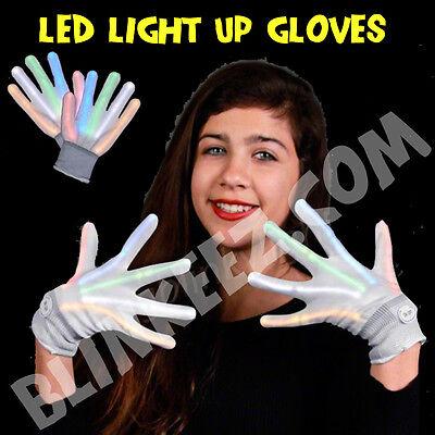 HALLOWEEN XO Magic Mitts White LEDs Flashing LED Gloves LightUp Rave Party Dance