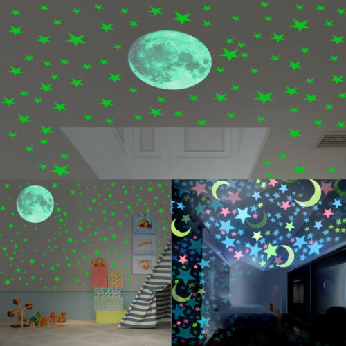 Glow In The Dark Star Wall Stickers Round Stars Moon Luminous Kid Ceiling Room