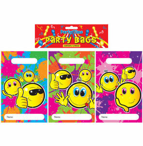 12-Smiley-Face-Empty-Party-Bags-Toy-Loot-Gift-Wedding-Kids-Plastic
