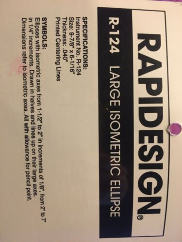 CHARTPAK BEROL RAPIDESIGN R-124 LARGE ISOMETRIC ELLIPSE TEMPLATE