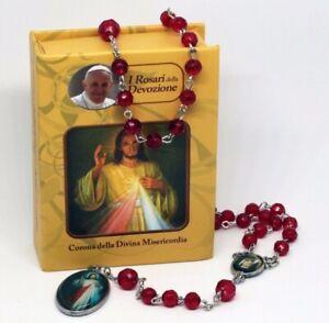 ROSENKRANZ-ROT-Taufe-Kommunion-KREUZ-Kette-MARIA-Jesus-GOTT-HALSKETTE-in-Box