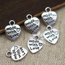"Lot 10 Pendentifs Coeur Argenté "" made with love "" 12mm x 10mm Breloques Charms"