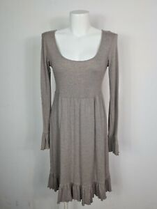 METALICUS Grey Stripe Flutter Fit & Flare Dress Women's One Size 100% Cotton