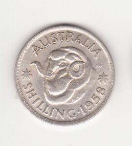 1958 Australian Silver 1/- One Shilling Queen Elizabeth II  (very Nice)